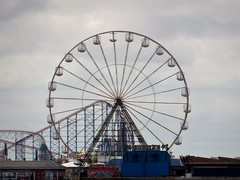 The Big Wheel and the Big One. (deltrems) Tags: beach wheel one coast pier big fairground central lancashire roller rides bigone coaster blackpool pleasure centralpier fylde pleasurebeach