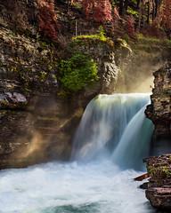 St Marys Falls (M@ H) Tags: glaciernationalpark stmarysfalls nature landscape waterfall stmaryriver sunrays sunbeams river stream slow exposure slowexposure