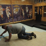 Carpet installation in Women's Basketball locker room
