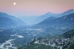 Rhone Valley, Valais (vladimir.vozdvizhenskiy) Tags: moon mountains alps les alpes river landscape switzerland suisse valley moonset sion valais rhone varen lerhone
