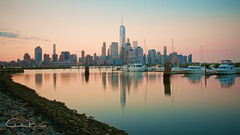 NY Sunrise (Hieroglyphics...) Tags: newyork ny sunrise worldtradecenter wtc oneworldtradecenter reflections waterreflections longexposureshot longexposure nyskyline lowermanhattan lowermanhattanskyline
