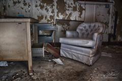 Overstuffed (Linda O'Donnell) Tags: abandonedplacesinamerica newjersey urbex hdr exposurebracketing nikond750 exploreusa testingfacility chair