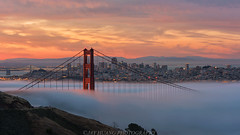Fog City (Jaykhuang) Tags: lowfog goldengatebridge sunrise downtown alignmentspot sanfrancisco lights burn clouds jayhuangphotography