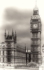 5 Past 2 (beelzebub2011) Tags: uk england london bw monochrome bigben parliament clocktower