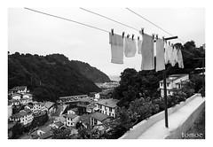 Colgada (Natalia Lozano) Tags: bn bw blancoynegro bnw asturias clothes tendedero mirador village spain monochrome moncromo street sea mar beach