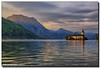 The Last of the Sunlight ... (Fraggle Red) Tags: morning lake mountains castle clouds sunrise reflections austria österreich oberösterreich hdr traunstein upperaustria gmunden traunsee schlossort canonef24105mmf4lisusm 7exp dphdr seeschlossort canoneos5dmarkiii 5d3 5diii adobephotoshopcs6