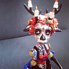 Jeannette art doll -air dry clay /acrylic (sold) #artdoll #art #sculpture #diadelosmuertos #calavera #deer #dollphotography #oddities #mexicandayofthedead #doll #dollmaking #painting #tattoo (Alexandra Soury /Cute Amalia) Tags: square squareformat hudson iphoneography instagramapp uploaded:by=instagram