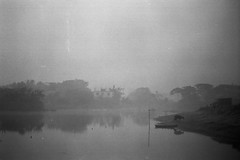 Tranquillity (Sheikh Shahriar Ahmed) Tags: winter mist film water misty fog analog rural landscape cow view foggy mysterious fujifilm suburb dhaka bangladesh banasree easternmost hexanon50mmf17 fujicolorc200 dhakadivision aftabnagar konicaautoreflext3n epsonv330 sheikhshahriarahmed