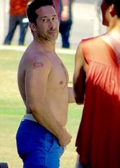 IMG_5654 (danimaniacs) Tags: park shirtless man hot sexy guy smile tattoo beard hunk westhollywood scruff