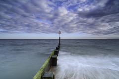The Lookout. (muddlemaker1967) Tags: summer seascape water clouds nikon seagull dorset groyne d700