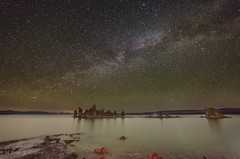 Milky Way over Battleship (ScorpioOnSUP) Tags: california nightphotography sky lake water night clouds landscape rocks salt tranquility calm astrophotography nightsky battleship monolake landscapephotography southtufa themilkyway mountainline