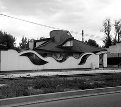 The architect was drunk (roomman) Tags: blackandwhite bw white house black monochrome strange drunk grey design waves transport style wave rail railway architect transportation rails drunken curve bandw shape curved pkp 2016 sochaczew sochaszew