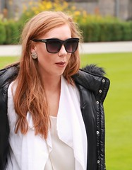 Redhead in St Andrews Scotland 2016 (marinbiker 1961) Tags: redheadgirlwomanbeautifulstandrews2016sunglassespeopleoutdoorsblackjacketwhiteblousewhitewoman people outdoor standrews