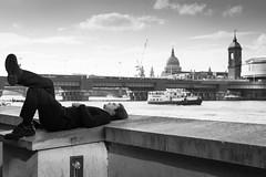 Daydreaming (Yannis_K) Tags: blackandwhite monochrome london londonskyline stpauls streetphotography riverthames riverboat relaxing chilling daydreaming yannisk nikond7100 nikon35mmf18dx