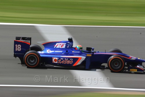 Sergio Canamasas in his Carlin car in GP2 Practice at the 2016 British Grand Prix