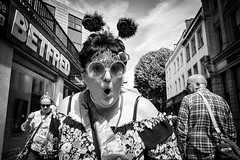 It's Never Too Late (Shot In The Street) Tags: streetphotography portrait bride street mono pride2016 hen lgbt monochrome bristol bw black blackandwhite glasses candid white