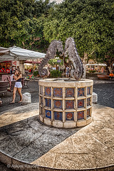 The Seahorse fountain (Askjell's Photo) Tags: fountain hellas medieval greece knights oldtown rodos rhodes rhodos middleage knightsofstjohn egeo knightshospitaller rhodosoldtown askjell theseahorsefountain martironsquare