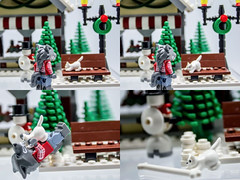 UPDATE: Werewolf vs kitty (The Aphol) Tags: lego legography werewolf kitty cat furry christmas bone attack battle unexpected minifigures monsters wolf