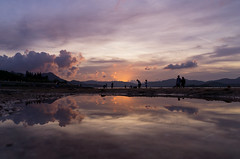 Waves in the still water~ [Explored on 20 Jul 2016] (edward.cheung) Tags: sunset cloud reflection beach landscape hongkong sony maonshan a6000