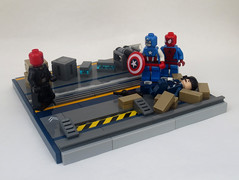 Assault on the Triskelion (JAlexanderHutchins) Tags: lego spiderman marvel captain america red skull triskelion crates boxes shield hydra