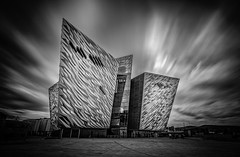Titanic Museum, Belfast (Wojtek Piatek) Tags: ireland northernireland long exposure titanic museum clouds architecture building blackandwhite mono sony landscape zeiss 1635 a99 nd filter lee ulster glass