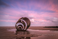 Listen to the wind (pixellesley) Tags: sculpture beach sand ocean sea water lowtide dawn predawn daybreak morning pool reflections shell solitary sky clouds landscape lesleygooding marysshell cleveleys