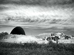 Abandoned (dieies) Tags: 1240mm zuiko olympus1240mmf28 olympusem1 olympus loader canada quebec construction sky abandoned blackandwhite bw