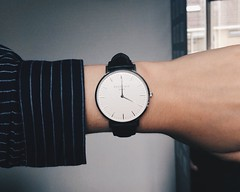 Time is precious (charlainejanssen) Tags: time hb1 vscocam vsco focus minimalist blue stripes blouse white black rosefield watch iphone