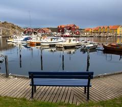 Jetty Tranquility (bjorbrei) Tags: blue water norway bench boats jetty hvaler skjærhalden kirkøy