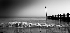 End of day (rhfo2o - rick hathaway photography) Tags: sunset blackandwhite bw beach mono sand westsussex wave groyne iphone rustington groynemarker iphone4s rhfo2o