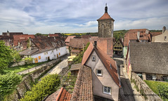 On the city wall (Jan Kranendonk) Tags: german germany city town travel europe building historical old stone rothenburg tauber medieval house buildings architecture scenic skyblue sunny tower wall fortification fort citywall roofs ancient cityscape deutsch deutschland