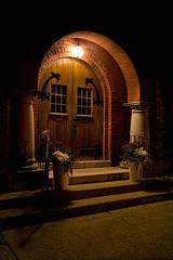 Church door (Thankful!) Tags: church door entrance night stgeorgeunitedchurch stgeorge village rural ontario beholdistandatthedoorandknockifanymanhearmyvoiceandopenthedooriwillcomeintohimandwillsupwithhimandhewithme