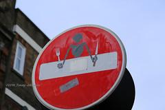 Dinner guest (tommyajohansson) Tags: london streetart streetartwalk shoreditch streetsign alteredstreetsign cletabraham subversive amusing bricklane tommyajohansson geotagged noentry noentrysign