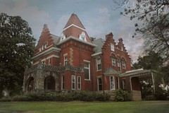 (SouthernHippie) Tags: 1800s old south southern sky country clouds alabama al anniston calhouncounty tourism brick red green trees victorian blue bluesky cloudy sunlight sunset sunshine weather sunny serene rural haunted house history historic home architecture americana