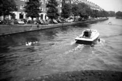 Families (Arne Kuilman) Tags: blackandwhite film netherlands amsterdam boot boat iso200 nederland scan swans halfframe 6x45 f11 koroll zwanen fomapan bencini 150s koroll24 overtoomsesluis halfbeeld