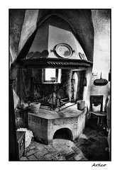 The ancient kitchen - Il cjavedal (Artico7) Tags: wood old blackandwhite bw food castle history window kitchen monochrome stone fire blackwhite ancient fireplace iron fuji steel smoke wroughtiron cook mortar historical friuli pans gorizia wrought furlan xe1 biancoeenero cjavedal