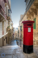 Red Postbox (Michael N Hayes) Tags: malta valletta mediterranean europe postbox summer fujifilmxpro1 sea culture city