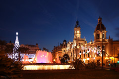 Plaza Del Ayuntamiento - Valncia, Spain (Andrea Moscato) Tags: city blue light shadow orange building tower art fountain colors architecture night dark square town community europe view arte darkness edificio vivid espana cielo vista piazza fontana citt valencian andreamoscato