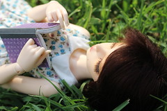 192/365 G is for Gwen (AluminumDryad) Tags: fairyland minifee mnf rheia msd slimmini bjd balljointeddoll sleeping photochallenge alphabet gisfor reading book grass outdoors