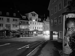 Small city night 1 (Paramedix) Tags: bw sw black white schwarz weis monochrome city germany badenwrttemberg deutschland olympus em5 mft night nacht