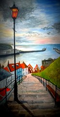 The Abbey Steps, Whitby (perseverando) Tags: abbey painting twilight acrylic steps dracula whitby perseverando