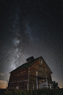 Two old friends - The Milky Way overhead an old rustic barn in Odell, IL