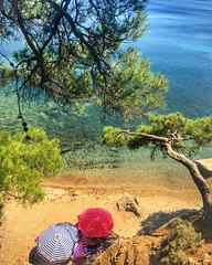 Summertime .... (maryattica) Tags: islands greece nature trees blue sea colours colors tanning swimming beach summer