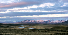 "a case of ""Alpengluehn"" in Iceland (lunaryuna) Tags: sky panorama scale clouds river season landscape iceland spring solitude colours lunaryuna stillness cloudscape vastness mountainrange panoramicviews beginningsunset seasonalchange lightmood"