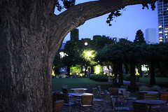 Rikkyo University (Sho Martin) Tags: rikkyo university night evening twilight tree branch branches trees green grass brick table tables chair chairs bench benches wood sky tokyo japan canon kiss x5 summer clouds cloud cloudy