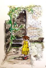 Explorer! (lindsayannecook) Tags: cornwall helicon little girl doorway mystery watercolour art lindsaycook