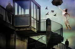 Police State (sophie_merlo) Tags: art fantasy surreal umbrella photoshop flying life police politics digitalart artistic original towers watchtower england uk state authoratarianism bigbrother escape rain stairs birds