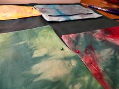 work in progress: knitting needle roll (dunkelgrunwool) Tags: color art sewing fabric quilting handsewn tiedye dyeing batik shibori handdyed batique