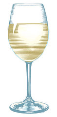 Glass of White (scratchmark) Tags: white wine chardonnay pinot sauvignon blanc semillon moscato grigio gewrztraminer riesling linocut illustration