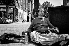 Zone (http://thomasthorstensson.photography) Tags: sunny composition chaos streetphotography dog 2016 homeless explore fujifilmxt1 social bethnalgreen waiting sidewalk london day honest alone xf35mm14r july communication urban human candid monochrome